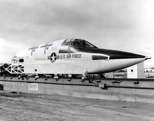 Convair B-58 Ejection Capsule 3/4 front view. Forward fuselage mock-up mounted on a 4.1 mile railroad test track in the Mojave Desert. The rocket powered sled was used to test high speed ejections before development of the capsule enclosure system. (U.S. Air Force photo)
