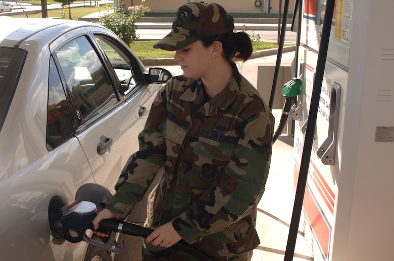 Airman Kelly Leguillon, 39th Communications Squadron, fills her tank up at the Incirlik Shoppette Nov. 2. In the month of November gas prices around Europe are set to decrease an average of 23 cents. (U.S. AIr Force photo by Airman 1st Class Nathan Lipscomb)