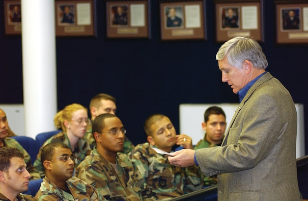 Bob Largent, Air Force Association chairman, speaks to Airman Leadership School Airmen during his visit to Aviano Oct. 25. Mr. Largent is visiting U.S. Air Forces in Europe installations to learn the issues affecting today's Airmen. (Photo by Airman 1st Class Liliana Moreno)