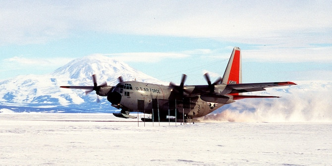 A U.S. Air Force LC-130 Hercules from the New York Air National Guard's 109th Airlift Wing touches down near McMurdo, Antarctica.  The first plane landed there 50 years ago. (U.S. Air Force photo)