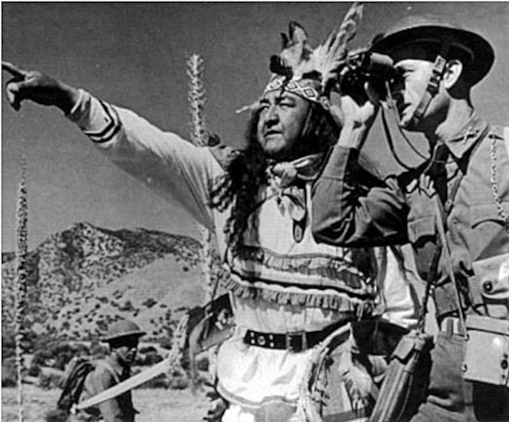 Native Americans have played an important role in U.S. military operations since the beginning of the country's history. Shown here, Apache Scout William Major is seen here with an officer of the 25th Infantry in the 1930s.