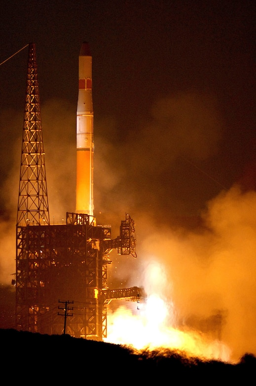 A Delta IV rocket launches at 5:53 a.m. on Nov. 4 from Vandenberg's Space Launch Complex-6.  The rocket carried a Defense Meteorological Satellite Program satellite in to space.  The satellite will transition into a polar earth orbit to provide weather forcasts for servicemembers on battlefields around the world. (U.S. Air Force photo/Joe Davila)