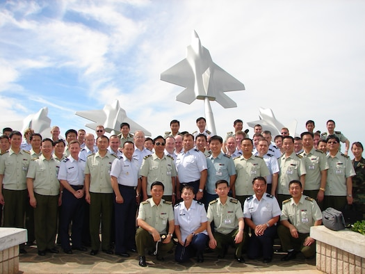 Pacific Air Forces Airmen hosted a delegation of 30 mid-grade commanders and a major general from China's People's Liberation Army to further understand each others mission, training capabilities and infrastructure.  Hickam was the last stop during a week-long visit to military installations in California and Hawaii. (U.S. Air Force photo by Lt. Col. Tracey J. Saiki)