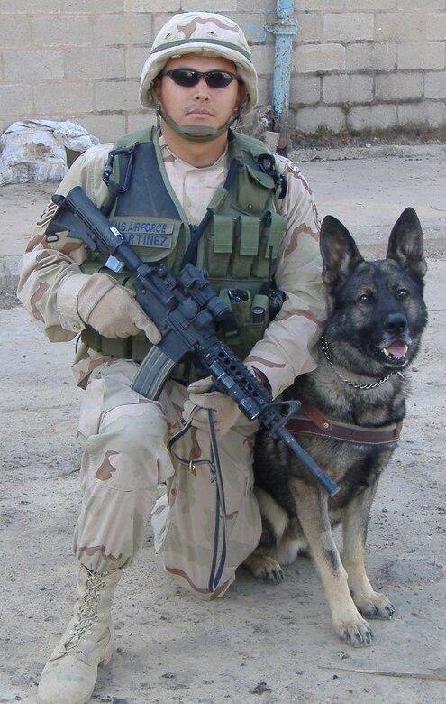 Staff Sgt. Pablo Martinez Jr. and Argo on patrol in Iraq.