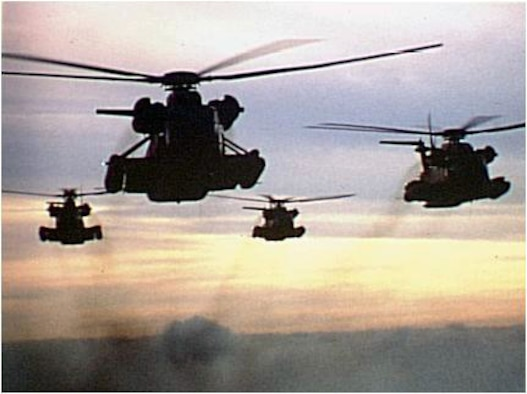 The MH-53 PAVE LOWs knocked out Iraqi early warning sites at the beginning of Operation Desert Storm. (Courtesy Photograph)