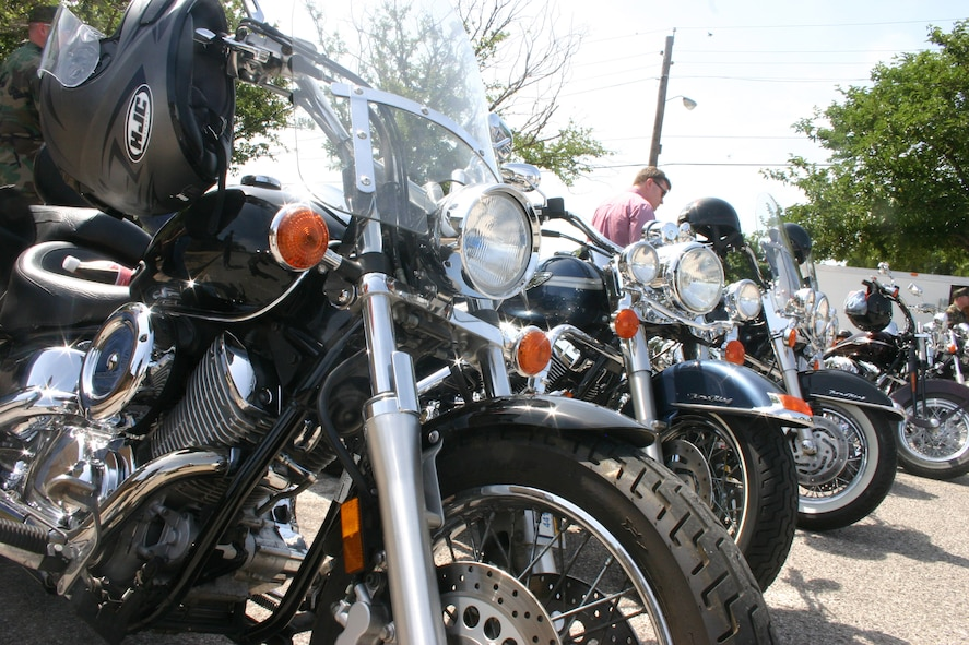 Members of the Sheppard Riders Association, a military motorcycle-riding group, displayed their motorcycles at the Safety Day Fair. Twenty organizations set up displays to promote summer safety at the event. (U.S. Air Force photo/Senior Airman Jacque Lickteig).