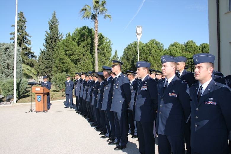 INCIRLIK AIR BASE, Turkey -- Capt. Joseph Manahan, Office of the Area Defense Counsel, read a speech commemorated Mustafa Kemal Ataturk's memorial Nov. 10, in front of the 10th Tanker headquarters building as a joint  10th Tanker Air Force and 39th Air Base Wing Airmen formation listen. This year marks the 68th anniversary of Ataturk's death.  Ataturk, the founder and first president of the modern Republic of Turkey, set up schools, separated religious affairs from state affairs and granted women equal rights as men. (U.S. Air Force photo by Senior Airman Patrice Clarke)