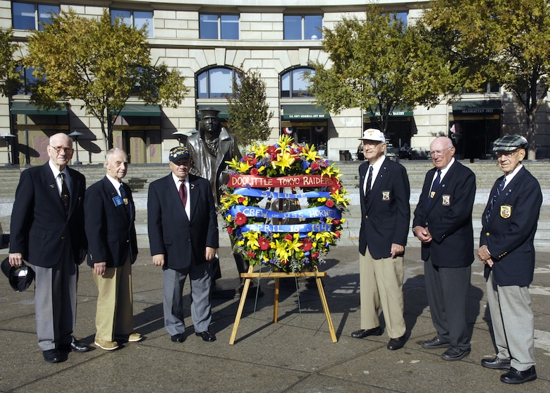 Six members of the Doolittle Raiders attend the wreath laying ceremony in honor of the USS Hornet at the Navy Memorial in Washington Nov. 9. On April 18, 1942, the Doolittle Raiders, led by then Lt. Col. Jimmy Doolittle, became the first to bombard Japan since the attack on Pearl Harbor. The Doolittle Raiders have celebrated their victory for the past 64 years. (U.S. Air Force photo/Airman 1st Class Rusti Caraker)