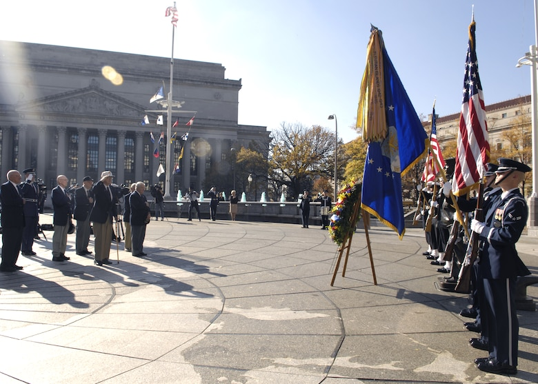 Six members of the Doolittle Raiders attend the wreath laying ceremony in honor of the USS Hornet at the Navy Memorial in Washington Nov. 9. On April 18, 1942, the Doolittle Raiders, led by then Lt. Col. Jimmy Doolittle, became the first to bombard Japan following the attack on Pearl Harbor. The Doolittle Raiders have celebrated their victory for the past 64 years. (U.S. Air Force photo/Airman 1st Class Rusti Caraker)