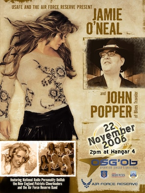 Country music artist Jaime O'Neal, entertainer of the air waves Delilah, John Popper of the platinum-selling group Blues Traveler, and the New England Patriots cheerleaders will tour USAFE bases and deployed locations from Monday to Dec. 2.  The show here will be Wednesday at 2 p.m. in Hanger 4. All base personnel are encouraged to come. It will be considered an alternate duty location. Immediately following the show their will be an autograph signing in the hanger. (U.S. Air Force Courtesy Graphic)