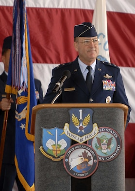Maj Gen Hank Morrow addresses the troops during his assumption of command ceremony here Wednesday.  General Morrow responsibilities include command of First Air Force, Air Forces Northern and the Continental US NORAD Region.