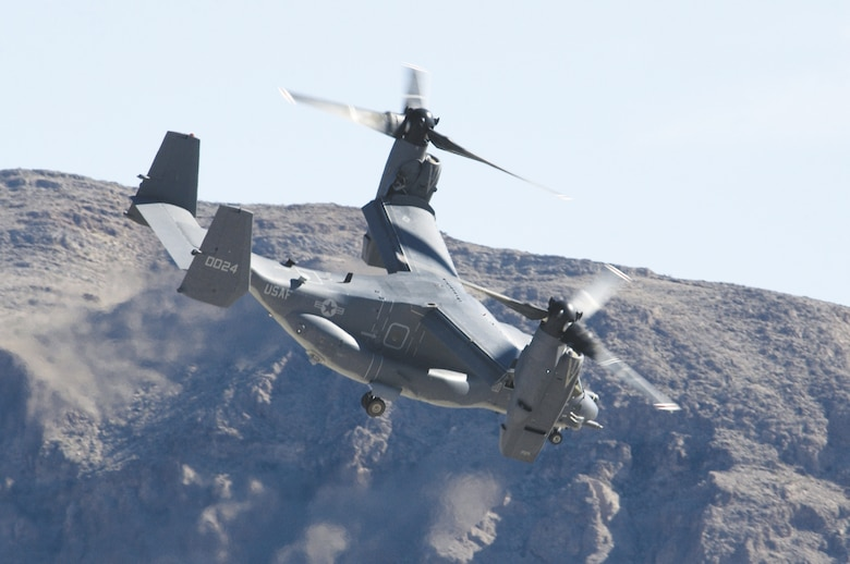 An Air Force CV-22 Osprey flies over Nellis -- the first time it has made an appearance at an air show. (U.S. Air Force photo/Master Sgt. Kevin Gruenwald)