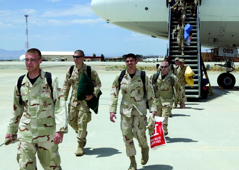 More than 40 Airmen from Edwards, Travis Air Force Base, Calif., and Nellis AFB, Nev., arrived here June 9, 2006. Airmen from the 95th Security Forces Squadron spent more than six months in Afghanistan after completing a two-month training with the U.S. Army.  (Photo by Bobbi Zapka)