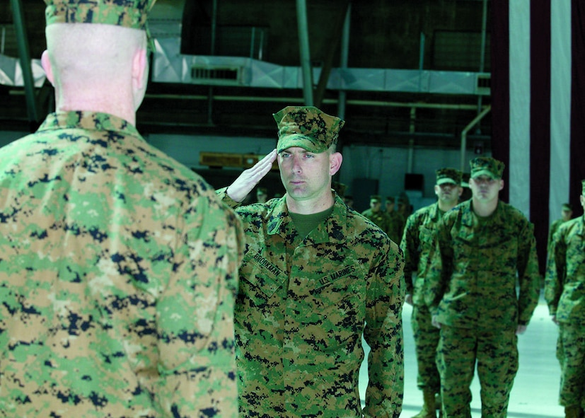 Marine Aircraft Group 46, Detachment Bravo welcomes Sgt. Maj. Michael Brookman (right) and said farewell to Sgt. Maj. John McGovern during a relief and appointment ceremony held March 17, 2006, in hangar 1210.  (Photo by Jim Shryne)