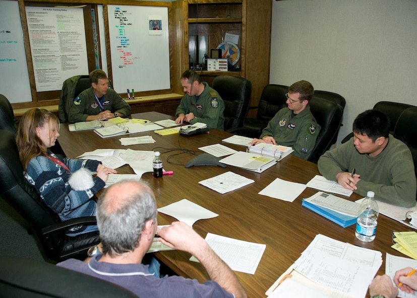 The Taiwan High Angle of Attack F-16 test team conducts a pre-flight briefing during the exercise. The overall test objective of the program was to evaluate the Block 30 F-16's high angle-of-attack handling, resistance to uncontrollable flight, and recovery characteristics while flying with a pylon designed to carry towed decoys.  (Photo by Andy Wolfe)