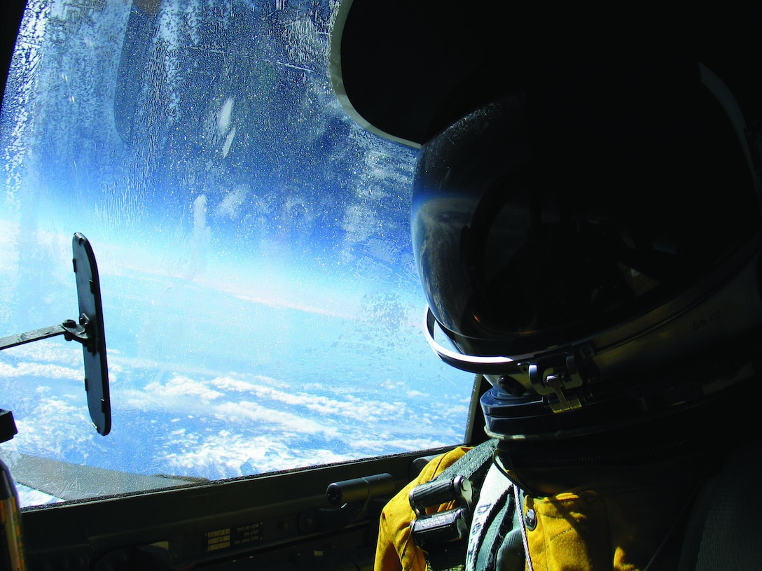 Col. Chris Cook, 412th Operations Group commander, gets a sweeping view of California from 71,000 feet during a recent flight in a U-2.  (Photo by Col. Chris Cook)