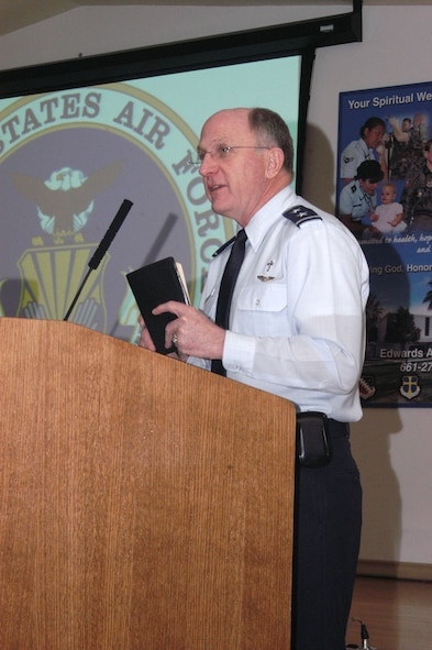 Chaplain (Maj. Gen.) Charles Baldwin, Air Force Chaplain Service chief, spoke at the National Prayer Breakfast at Club Muroc, March 16, 2006.  (Photo by Airman 1st Class Julius Delos Reyes)