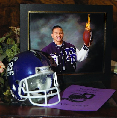 Andrew Antonio, a Desert High School senior, was inducted in the National Football Foundation College Hall of Fame. Aside from being an outstanding football and volleyball player, Andrew is also a consistent honor roll recipient and DHS junior ROTC group commander.  (Photo by Airman 1st Class Delos Reyes)