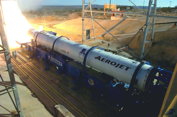 The Air Force Research Laboratory's Edwards Research Site helped static-fire the third Aerojet Block B Solid Rocket Booster for the Atlas V system.  (U.S. Air Force photo)