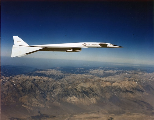 """The sleek Valkyrie took advantage of """"compression lift,"""" where the shock wave generated by the airframe at supersonic speed supports part of the airplane's weight. The XB-70A could also droop its wingtips as much as 65 degrees for additional stability at high speeds. (U.S. Air Force photo)"""