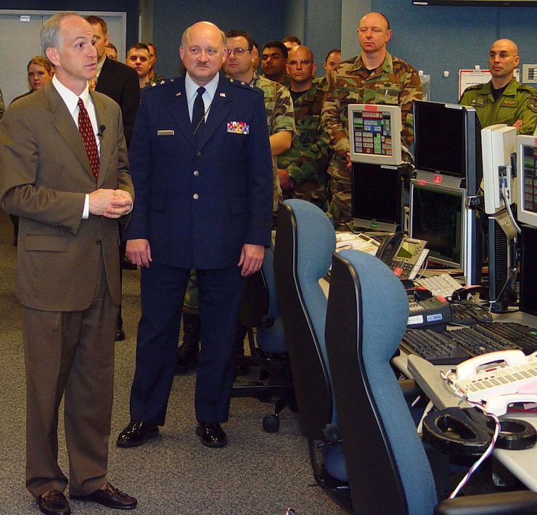 Representative Adam Smith (left) and Maj. Gen. Timothy J. Lowenberg preside at the opening of the Western Air Defense Sector's state-of-the-art operations center Nov. 20. The ceremony culminated an 18-month effort, with WADS now a significant, technically advanced deterrent against asymmetrical threats over a significant portion of America's airspace.  Congressman Smith represents Washington State's 9th District; General Lowenberg is Washington State's adjutant general. (U.S. Air Force photo/Randy Rubattino)