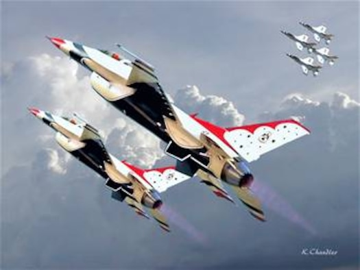 F-16 Thunderbirds.  Created by Ken Chandler. Image is 10x7.5 @ 300 ppi and is available up to 18x24 inches @ 300 ppi.  This image is copyrighted and is the property of Ken Chandler and is available only to members of the armed forces and military organizations.