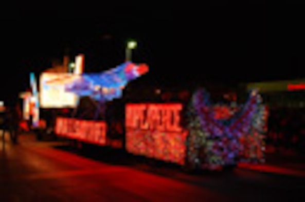 Ellsworth participates in Festival of Lights parade Nov. 25. Forty-five volunteers began working on Ellsworth's float in late August and continued until the last of the lights were attached Nov. 24, the morning before the parade. Ellsworth won the Mayor's Choice award for non-profit.
