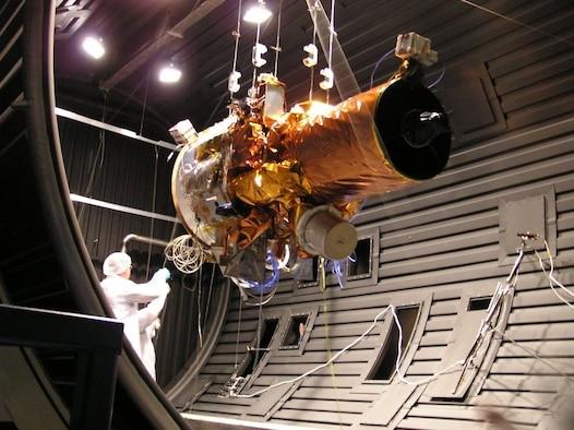 ATacSat-2 micro satellite is readied for thermal vacuum testing at AFRL's Space Vehicles Directorate, Kirtland Air Force Base, N.M. (Air Force photo)