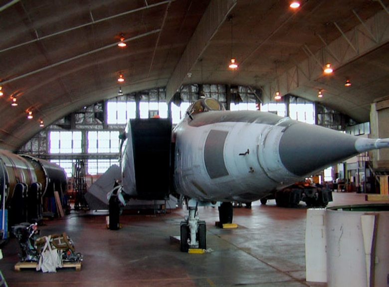 DAYTON, Ohio (11/2006) -- MiG-25 in the restoration area at the National Museum of the U.S. Air Force. (Photo by Timothy R. Gaffney)