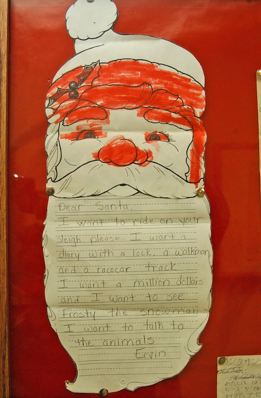 "EIELSON AIR FORCE BASE, Alaska -- Dear Santa letters from previous years. ""The Santa's Mailbag program started more than 50 years ago by members of the 58th Weather Reconnaissance Squadron to help Airmen assigned to Eielson get into the Christmas spirit,"" said Capt. Jason Wild, 354th Operations Support Squadron combat weather flight commander. ""Members of the combat weather flight now carry on that legacy."""
