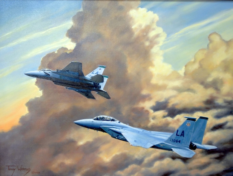 """Arizona Thunder"" by Terry Wofford. This piece was chosen to represent 1974 in the National Museum of the U.S. Air Force's exhibit entitled ""Heritage to Horizons