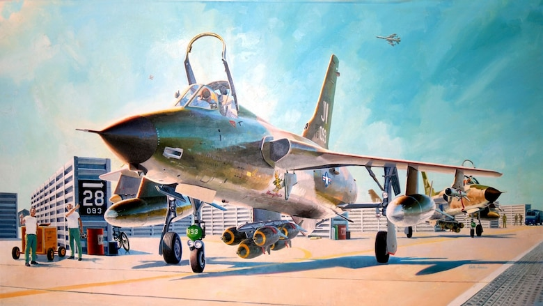 "Art depicting Rolling Thunder by Keith Ferris. This piece represents 1965 in the National Museum of the U.S. Air Force's exhibit entitled ""Heritage to Horizons: Commemorating 60 Years of Air & Space Power through Artists' Eyes."""