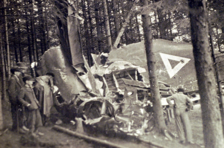 A photo donated to Joint POW/MIA Accounting Command by the landowner of depicts the site of a B-17 bomber crash May 10, 1944, near Vostenhof, Austria. The crash claimed the lives of 1st Lt. Stanley Dwyer and gunner Sgt. John Boros. (Courtesy photo)