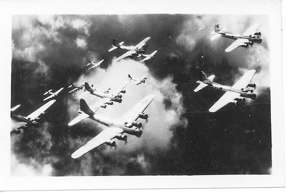 99th Bombardment Group B-17s in formation over Europe