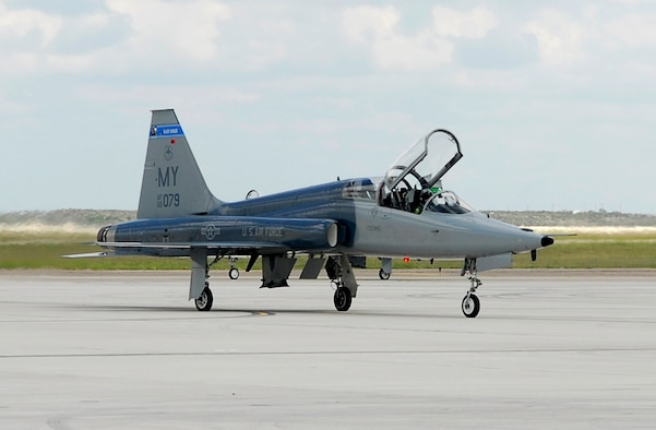 "The first ""Introduction to Fighter Fundamentals"" T-38 Talon arrived to Laughlin Air Force Base, Texas, Oct. 4 from Moody Air Force Base, Ga. The arrival of the aircraft marks the beginning of a new mission for Laughlin AFB.  (U.S. Air Force photo/Paco Mendoza)"