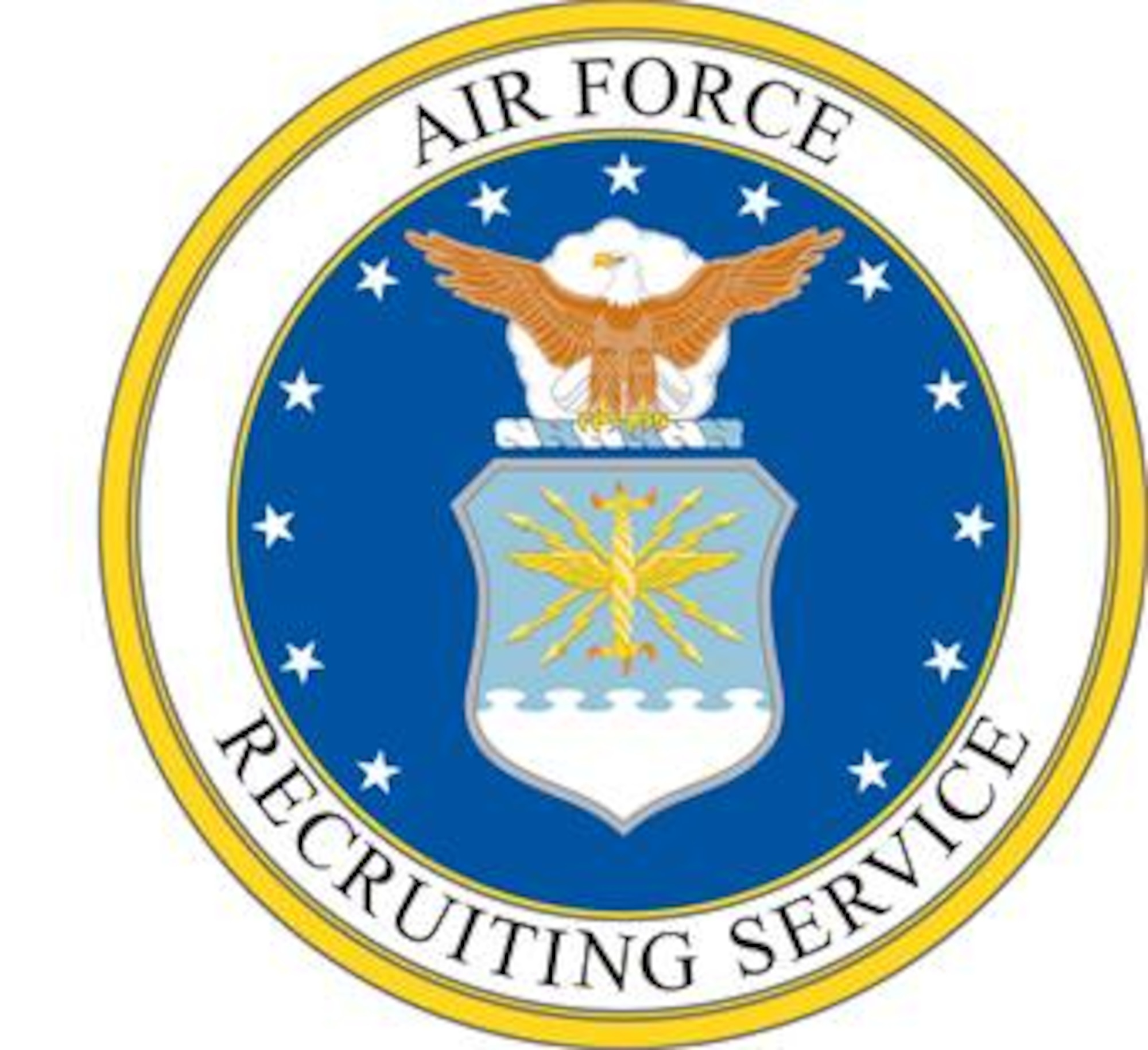 Air Force Recruiting Service (AFRS) shield (color).  Image is 8x7.57 inches @ 300 ppi.   Department of Defense and Military Seals are protected by law from unauthorized use. These seals may NOT be used for non-official purposes. For additional information contact the appropriate proponent.
