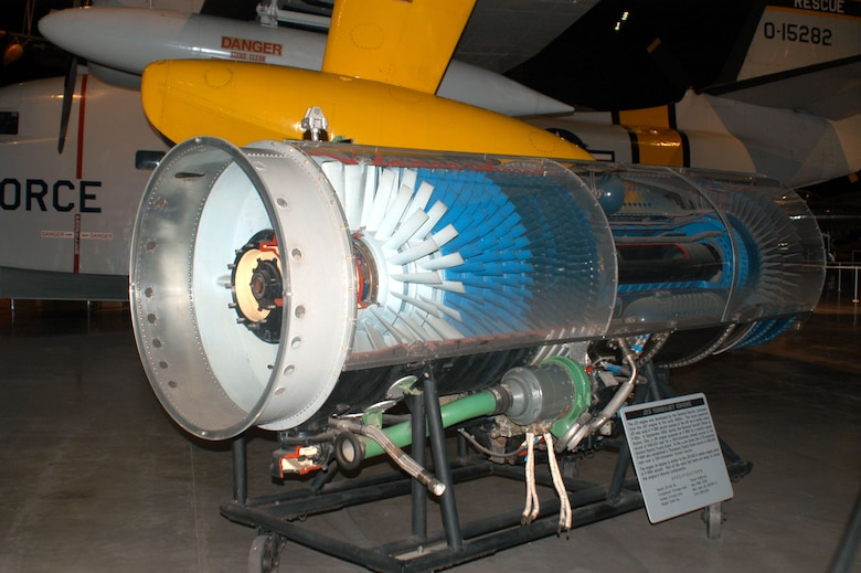 DAYTON, Ohio -- General Electric J73 engine on display in the Cold War Gallery at the National Museum of the United States Air Force. (U.S. Air Force photo)