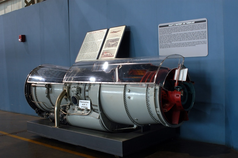 DAYTON, Ohio -- Pratt & Whitney J57 Turbojet engine on display in the Presidential Gallery at the National Museum of the United States Air Force. (U.S. Air Force photo)