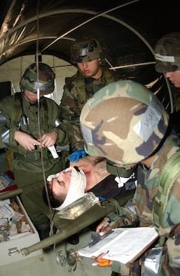 From left to right: Capt. Aaron Ament, 5th Medical Operations Squadron, Senior