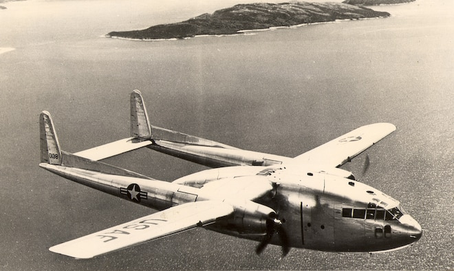 """An Air Force C-119 """"Flying Boxcar,"""" once considered the workhorse of the Air Force Reserve, was part of the Continental Air Command's first Airlift Rodeo on Oct. 5, 1956. (U.S. Air Force/file photo)"""