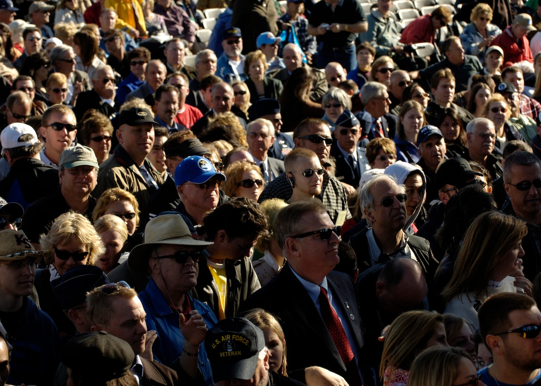 The crowd watces as country music star Lee Ann Womack performs at the Air Force open house at the Pentagon on Saturday, Oct. 14, 2006. The concert followed the official dedication ceremony of the Air Force Memorial.  (U.S. Air Force photo/Airman 1st Class Rusti M. Caraker)