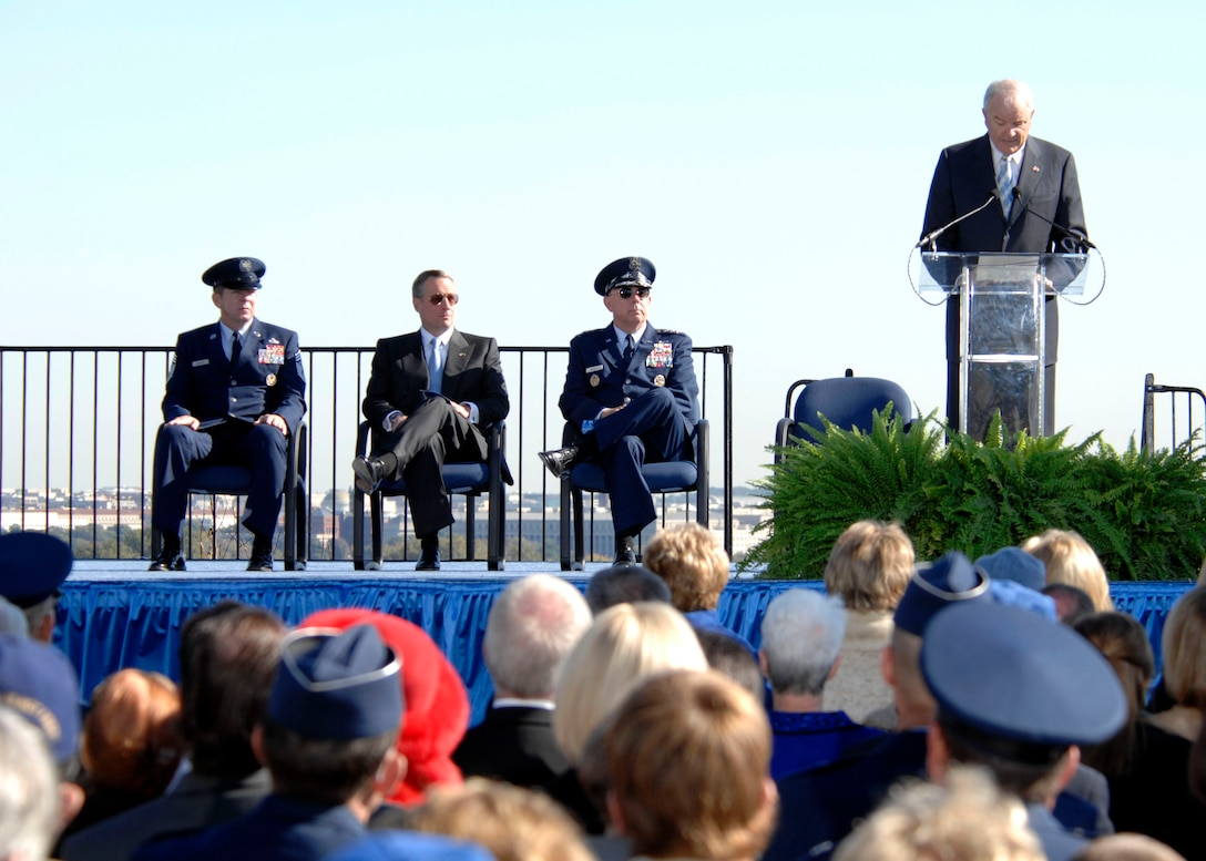 Hundreds gathered at the base of the new Air Force Memorial  as Secretary of the Air Force Michael W. Wynne officially closed the Air Force Memorial commemoration with a wreath laying ceremony in Arlington, Va., Oct. 15, 2006. Looking on are (from left) Chief Master Sgt. of the Air Force Rodney J. McKinley, Air Force Memorial Foundation Chairman Ross Perot Jr., and Air Force Chief of Staff Gen. T. Michael Moseley.  (U.S. Air Force photo/Tech. Sgt. Cohen Young)