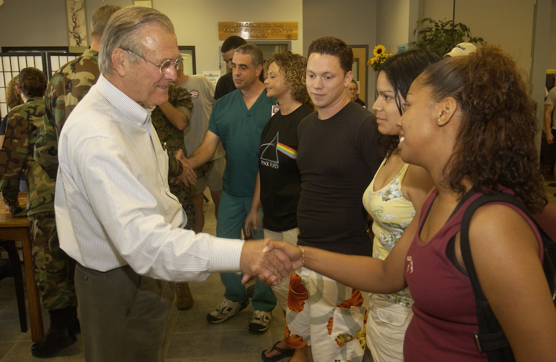 Secretary of Defense Donald H. Rumsfeld and General Richard Myers, Chairman Joint Chief of Staff, meets with displaced military families at Keesler AFB, Miss., Sept. 4. (Photo by Tech. Sgt. Mike Buytas)