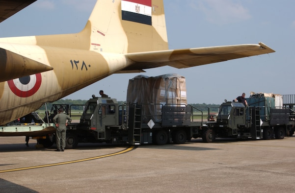 LITTLE ROCK AIR FORCE BASE, Ark. (AETCNS) -- A C-130 from Egypt landed here Sept. 8 with international aid to help the areas affected by Hurricane Katrina at Little Rock Air Force Base, Ark. The C-130 and its cargo are part of the international relief efforts to help the United States. Little Rock Air Force Base is the hub for all international supplies to help the victims of Hurricane Katrina. (U.S. Air Force photo by Airman 1st Class Roxanne Zellmer)