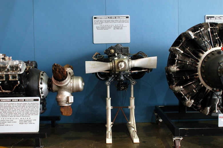 DAYTON, Ohio -- Continental O-470 engine on display in the Presidential Gallery at the National Museum of the United States Air Force. (U.S. Air Force photo)