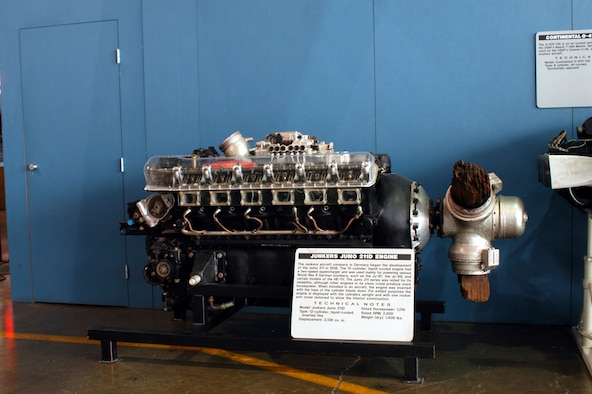 DAYTON, Ohio -- Junkers Jumo 211D engine on display in the Presidential Gallery at the National Museum of the United States Air Force. (U.S. Air Force photo)