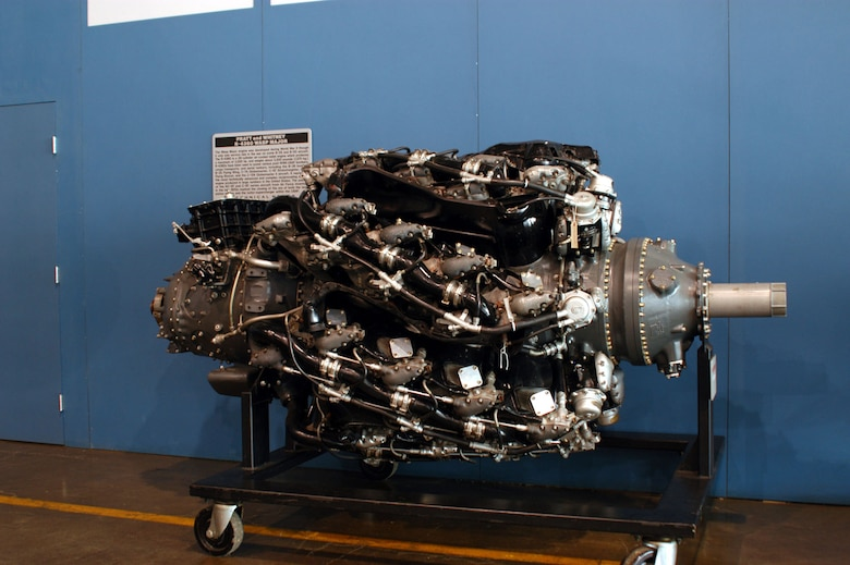 DAYTON, Ohio -- Pratt & Whitney R-4360 engine on display in the Presidential Gallery at the National Museum of the United States Air Force. (U.S. Air Force photo)