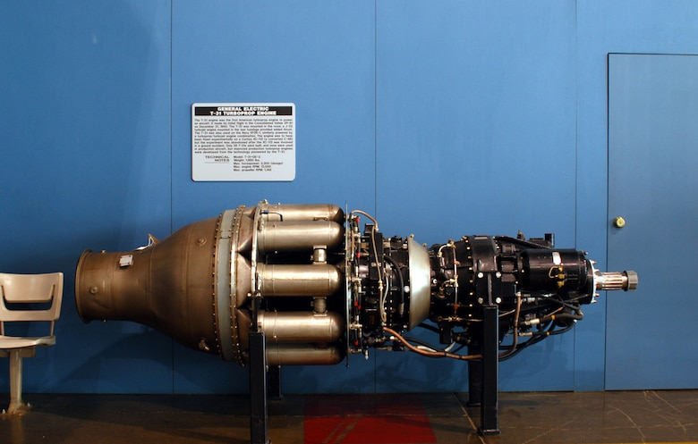 DAYTON, Ohio -- General Electric T-31 Turboprop engine on display in the Presidential Gallery at the National Museum of the United States Air Force. (U.S. Air Force photo)