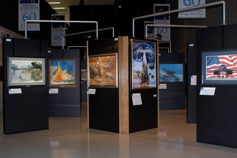 "DAYTON, Ohio - USAF 60th Anniversary art exhibit ""Heritage to Horizons: Commemorating 60 Years of Air & Space Power Through Artists' Eyes"" at the National Museum of the U.S. Air Force (U.S. Air Force photo)"