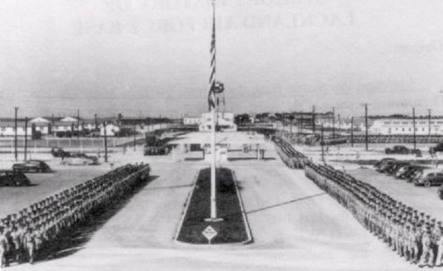 World War II – Cadets march through the main gate at the San Antonio Aviation Cadet Center.  The Center, located on present day Lackland, was one of three that processed and classified aircrew.
